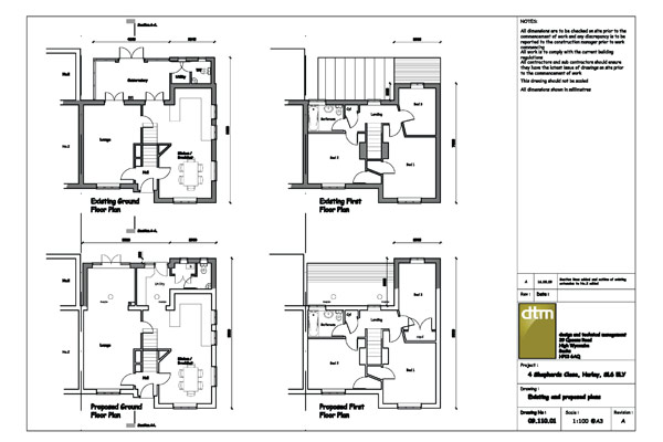 Floor plans for single / two storey rear extension
