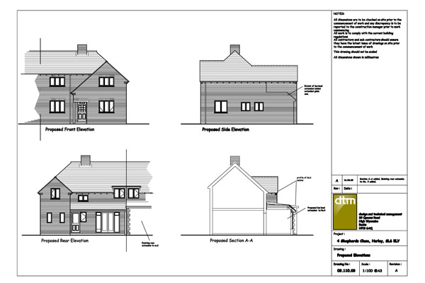 Elevations for single / two storey rear extension