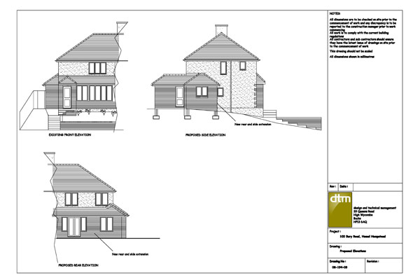 Elevations for a single storey kitchen / family room extension
