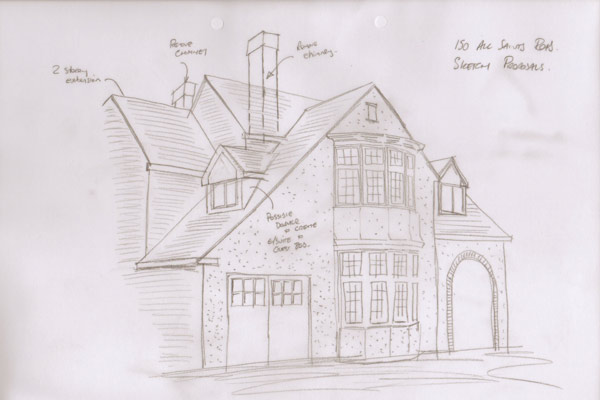Sketch for two storey side extension with new dormer