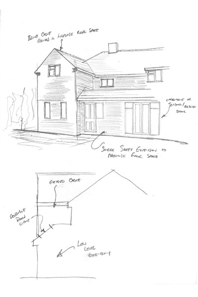 Sketch for single / two storey rear extension